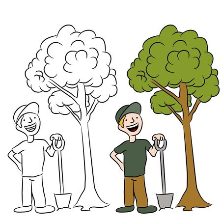 An image of a man planting a sapling tree. Illustration