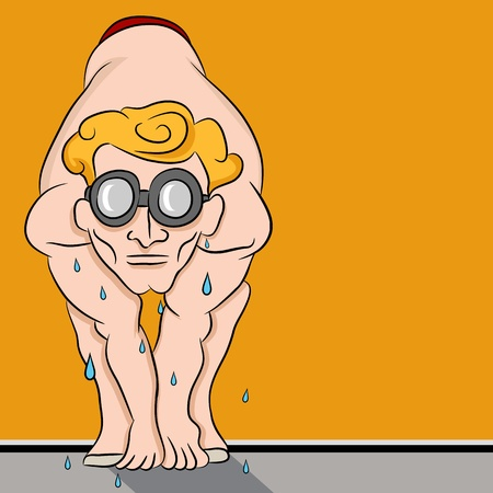 An image of a relay team swimmer man ready to dive in the water. Vector