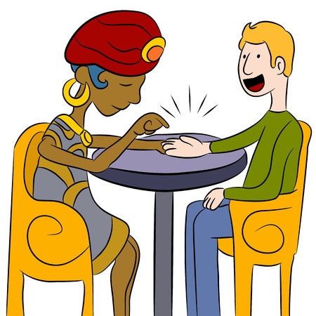 An image of a psychic palm reader with a client. Vector