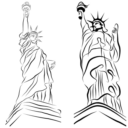 An image of a set of statue of liberty drawings. Stock Vector - 9673033