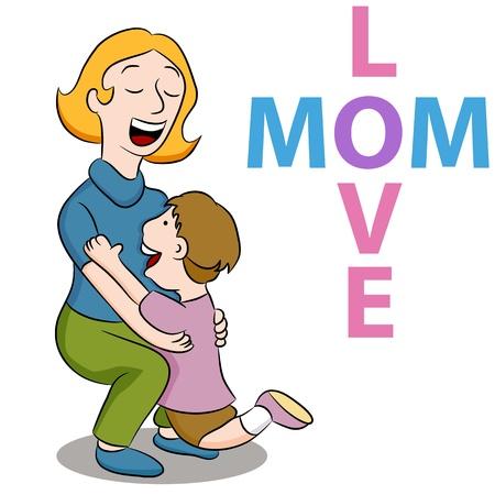 彼に抱擁を与えるために彼女の息子を拾って母のイメージ。