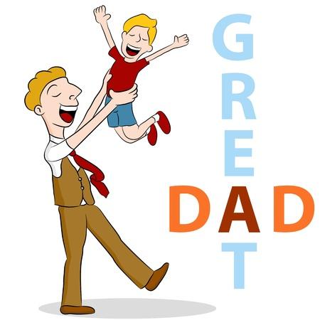 とても素晴らしい当分の空気中の彼の息子を持ち上げる息子のイメージ。