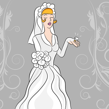 gazing: An image of a wedding bride gazing on her diamond wedding ring. Illustration