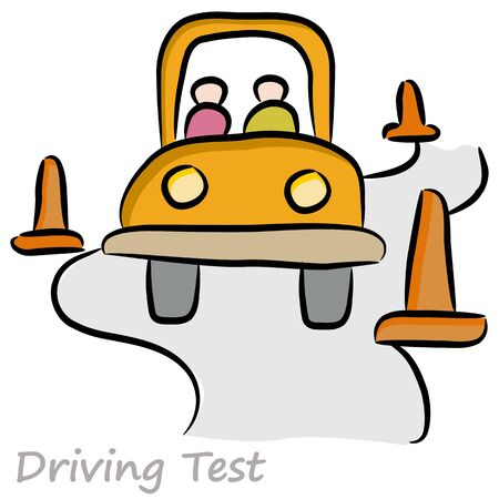 An image of a driver taking a driving test. Vector