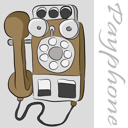 An image of an old payphone telephone. Vector