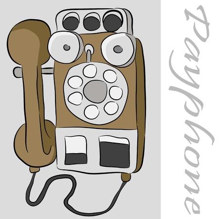 Une image d'un téléphone publiphone ancienne. Banque d'images - 9673047