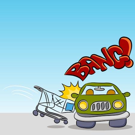 An image of a shopping cart damaging a car. Vector