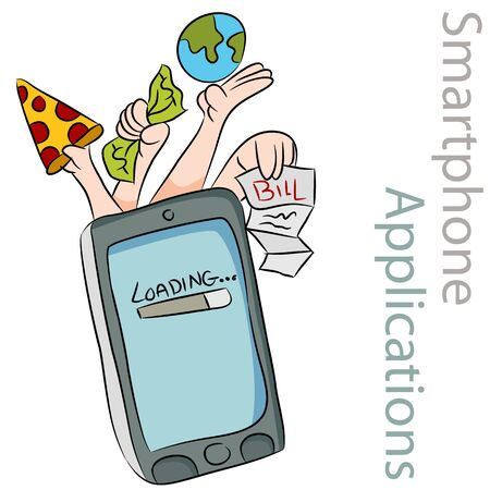 Een afbeelding van diverse slimme telefoontoepassingen. Stock Illustratie