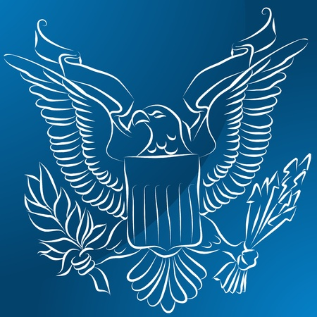 An image of an eagle with shield on blue background. Vector