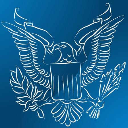 Une image d'un aigle avec le bouclier sur fond bleu. Banque d'images - 9673048
