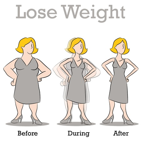 An image of a woman losing weight. 矢量图片