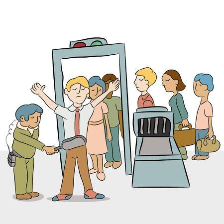 leaving: Een beeld van een rij mensen gaan door een veiligheidscontrole.