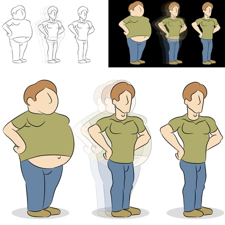 An image of a man losing weight transformation.  イラスト・ベクター素材