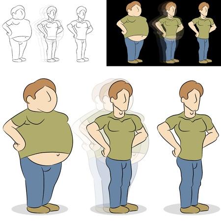 масса: An image of a man losing weight transformation. Иллюстрация