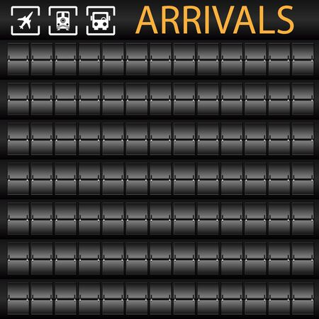 An image of a blank transportation arrivals board. Vector