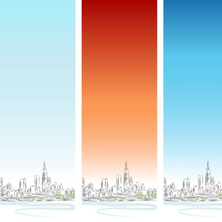 An image of a Chicago cityscape vertical banner set. Vector