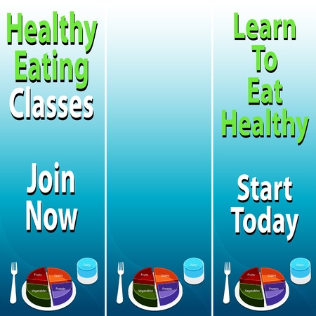 An image of healthy eating banners with food plate chart. Vector