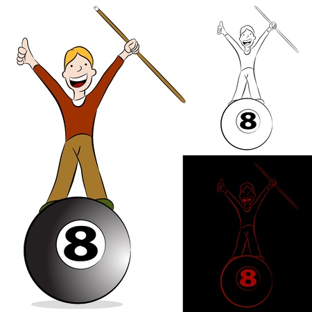 An image of a billiard player standing on the eight ball holding a cue stick.