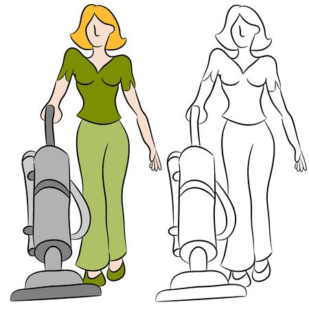 An image of a woman using a vacuum cleaner. Vector