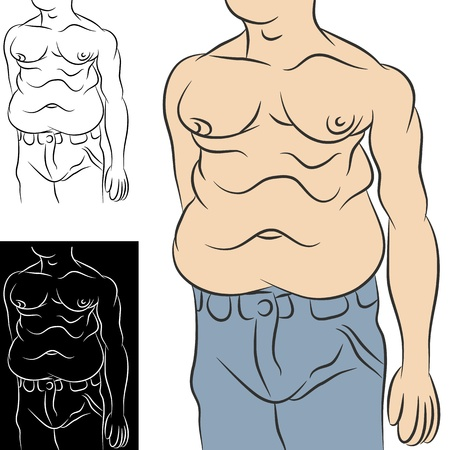 midsection: An image of an overweight man with abdominal stomach fat. Illustration