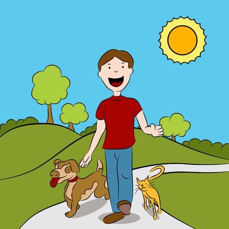Man loopt met zijn kat en hond in het park.