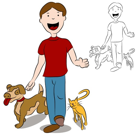 Man walking with his cat and dog in the park. Vector