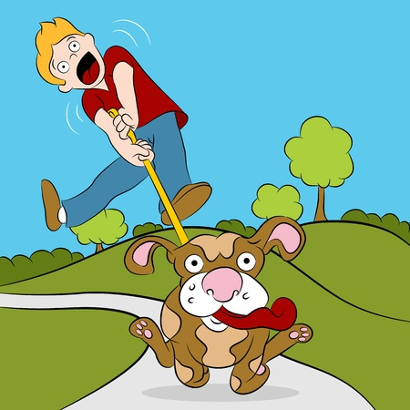 pulled: An image of a man being pulled while trying to walk his dog.