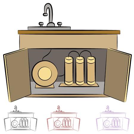lavabo: Una imagen de un sistema de filtraci�n de agua de cocina fregadero �smosis inversa.