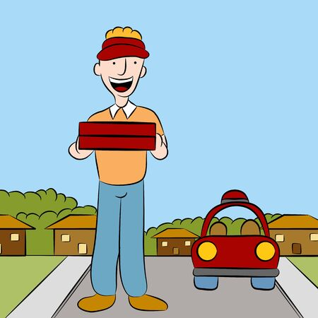 An image of a man delivering pizza.