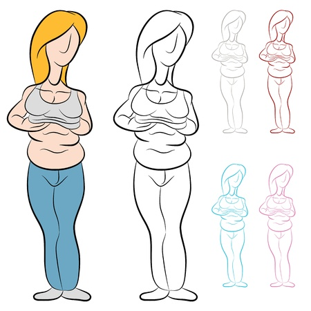 An image of a overweight woman with abdominal fat. Illustration