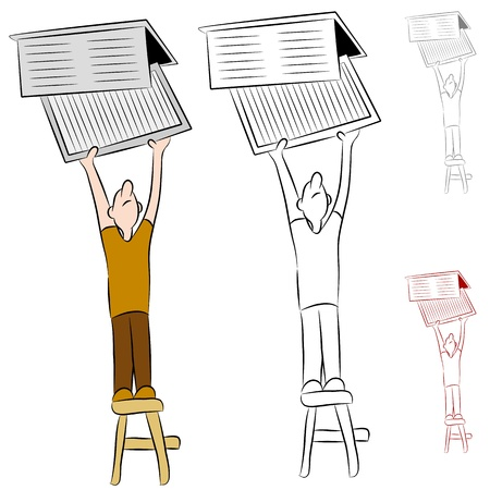 air filter: An image of a man changing his home heating and cooling conditioner system air filter.