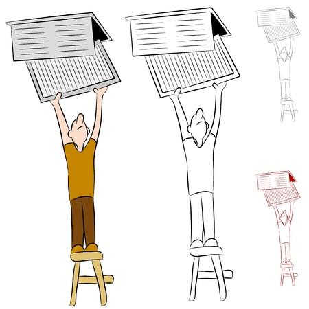 Een beeld van een man te veranderen zijn huis verwarmen en koelen conditioner systeem luchtfilter.