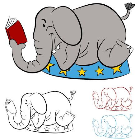 An image of a circus elephant reading a book.