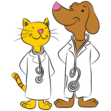 An image of a cat and dog dressed as pet doctors.