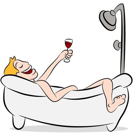 Een beeld van een man die wijn in de badkuip drinkt. Stock Illustratie