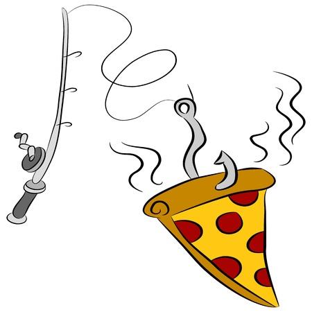 낚시 극 갈고리에 매달려 피자 조각의 이미지. 일러스트