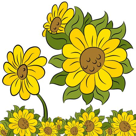 with sets of elements: An image of a sunflower border and design element.