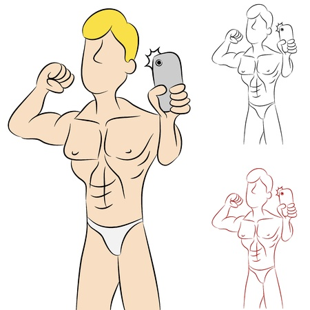 An image of a man taking a photo of himself in his underwear. Vector