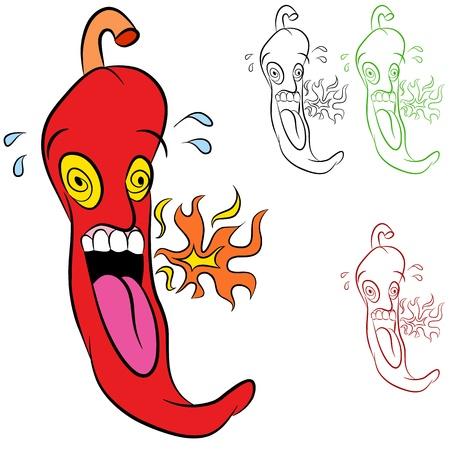 Een afbeelding van een brandende hete chili peper - cartoon stijl.
