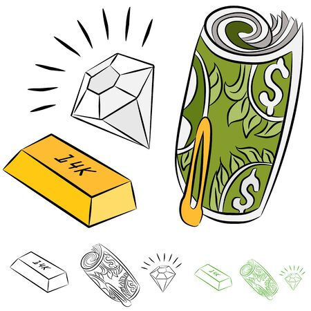 An image of a set of valuable monetary items. Vector