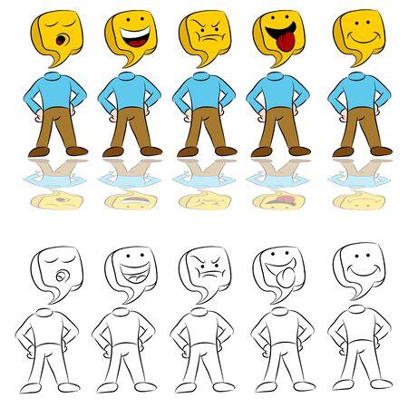 さまざまな感情を表現する人のアイコンの画像。