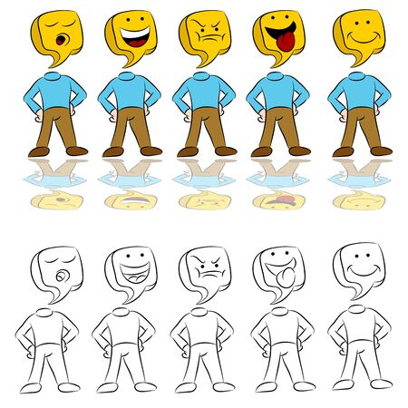 An image of a man icon expressing different emotions. Vector