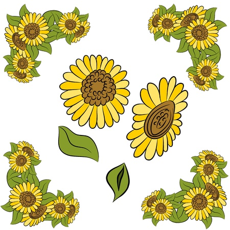 An image of a sunflower design element set.