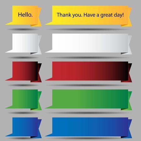An image of a gold folded speech bubble ribbon button set.