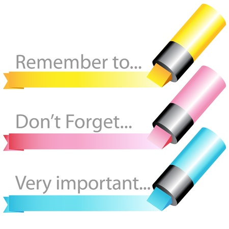 An image of a highlighter marker ribbon set. Vector