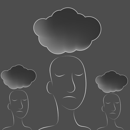 suicidal: An image of a dark clouds over a group of people. Illustration