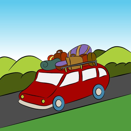 An image of a family on vacation. Vector