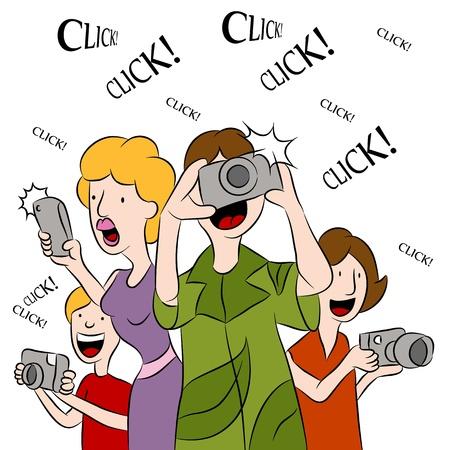 Een afbeelding van mensen die foto's maken met camera's.