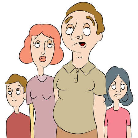 An image of a tired or bored family. Vector