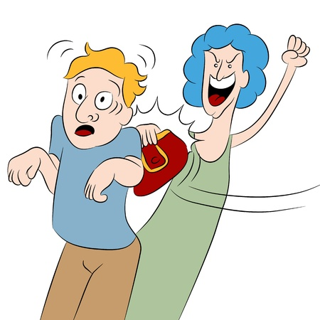 An image of a angry woman hitting a man with her purse. Stock Illustratie